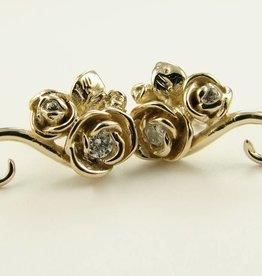 Signature Rose Yellow Gold Diamond Earrings, Rosebud Vine