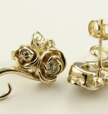Signature Rose Yellow Gold Diamond Earrings, Rosebud Vine