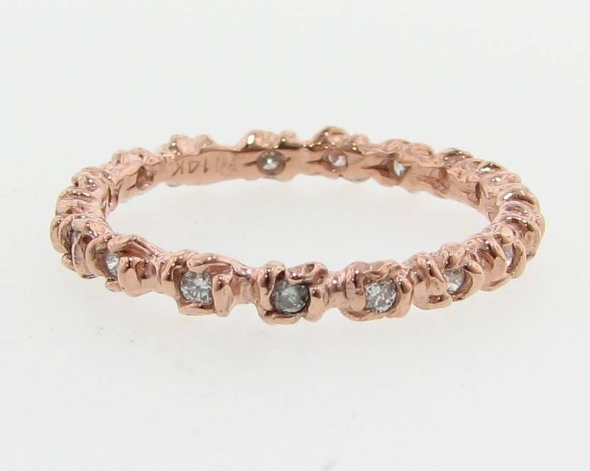 Signature Rose Rose Gold Diamond Ring, Rosebud Leaf Band