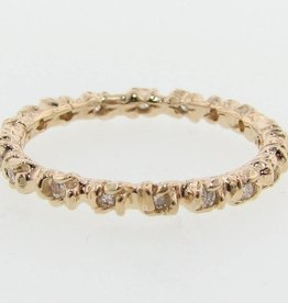 Signature Rose Yellow Gold Diamond, Rosebud Leaf Band
