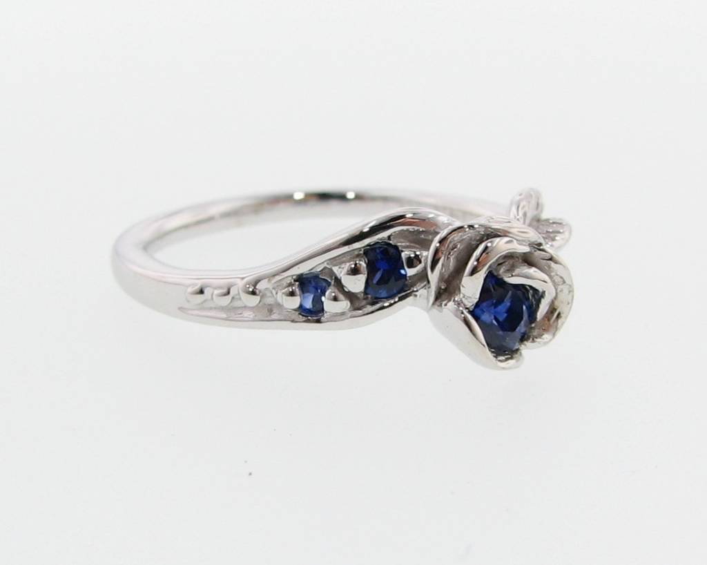 Signature Rose White Gold Sapphire Wedding Ring Set, Prize Tea Rose