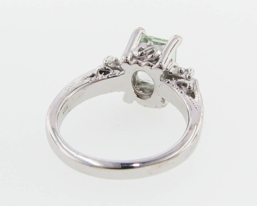 Vintage Green Amethyst Moissanite Silver Ring, Old Paris