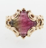 Vintage Watermelon Tourmaline Ring Yellow Gold, Jelly