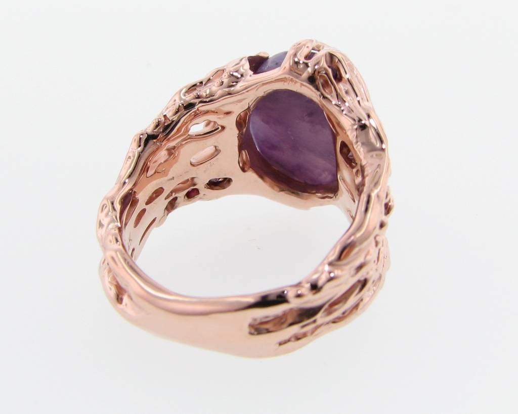 Organic Charoite Diamond Rose Gold Ring, Cypress Root