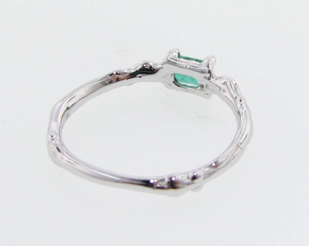 Organic White Gold Emerald Ring, Delicate Twig