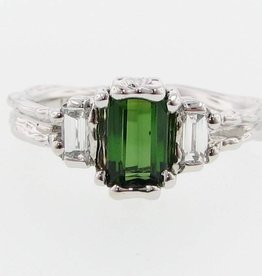 Vintage Tourmaline White Gold Ring, Timeless Luxury