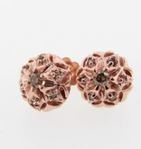 Vintage Rose Gold Cognac Diamond Earring Studs, Bisnonna