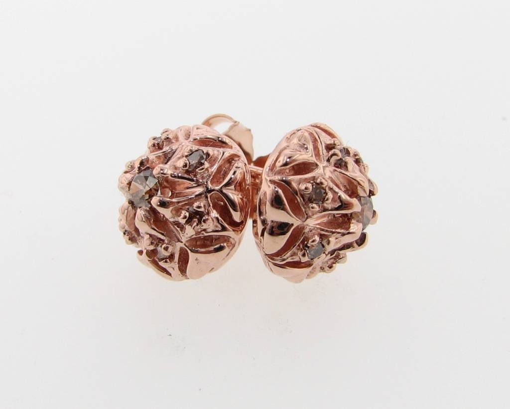 Bisnonna Vintage Rose Gold Cognac Diamond Earring Studs