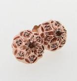 Vintage Rose Gold Cognac Diamond Earring Studs, Bisnonna