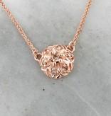 Vintage Cognac Diamond Rose Gold Pendant, Necklace