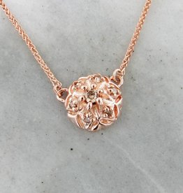 Vintage Cognac Diamond Rose Gold Pendant, Necklace