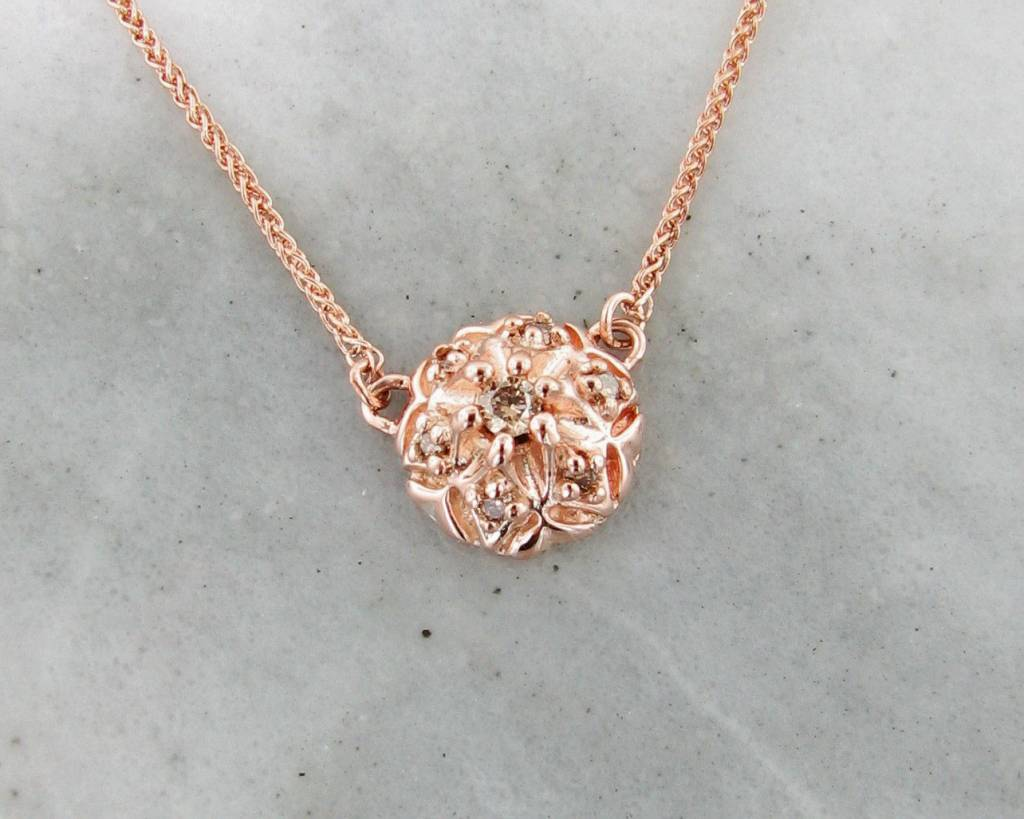 Cognac Diamond Rose Gold Necklace Bisnonna Wexford Jewelers