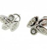 Vintage White Gold Diamond Pearl Earrings, Leaf Demure