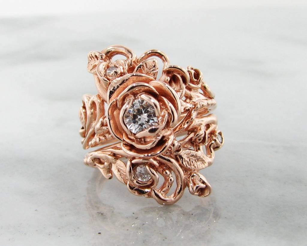 signature rose diamond rose gold wedding ring set - Rose Gold Wedding Ring Set