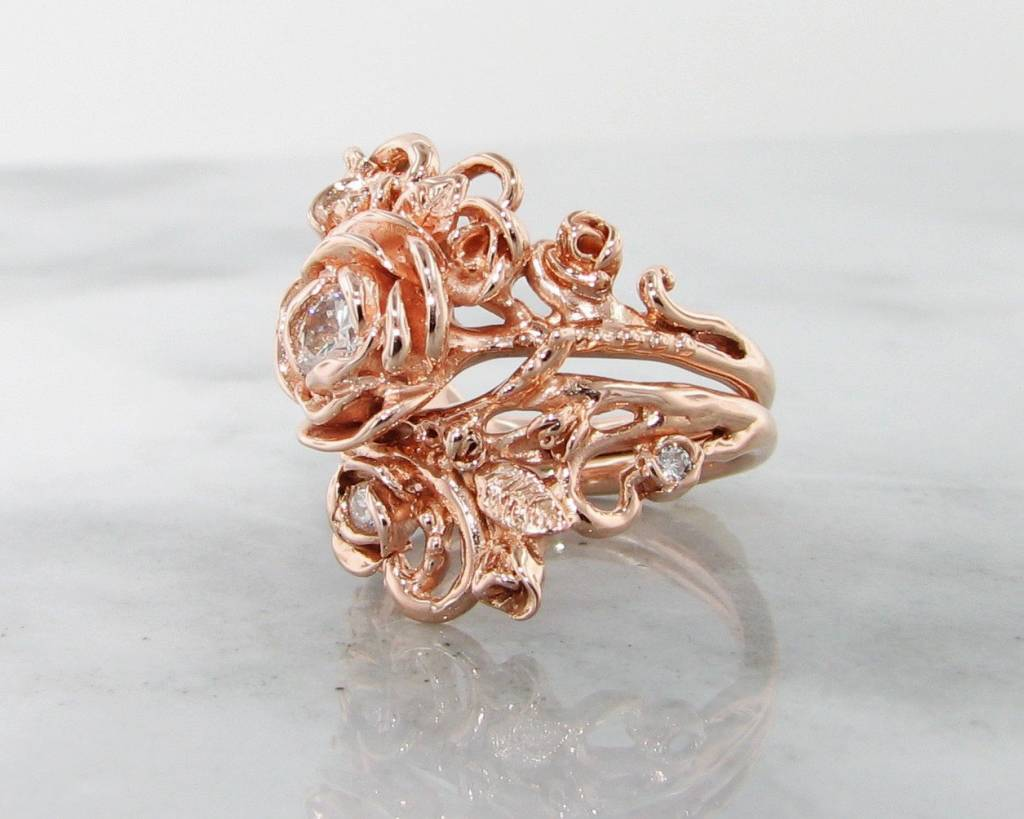 Signature Rose Diamond Rose Gold Wedding Ring Set, Jane Rose