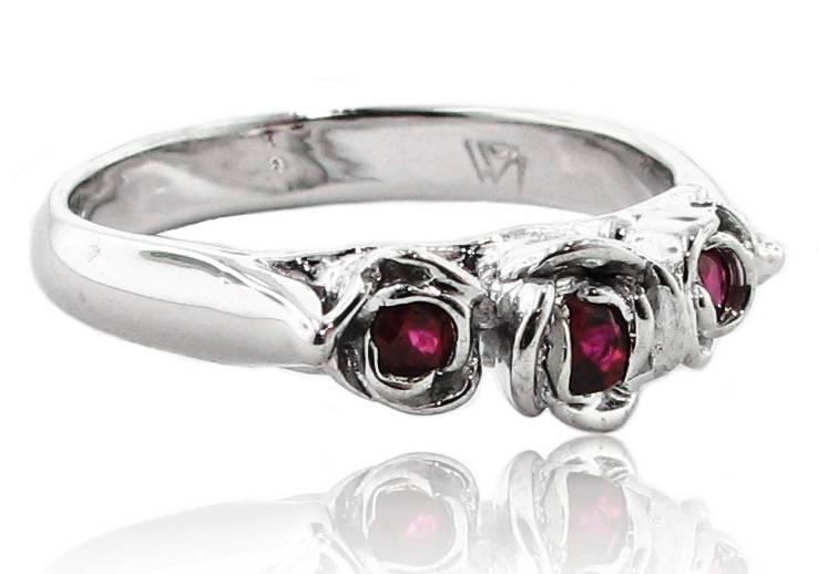 Signature Rose Burmese Ruby White Gold Ring, Trieste Roses II