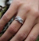 Signature Rose Ruby Silver Wedding Ring Set, Prize Tea Rose
