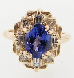 Vintage Tanzanite Diamond Yellow Gold Ring, Art Deco