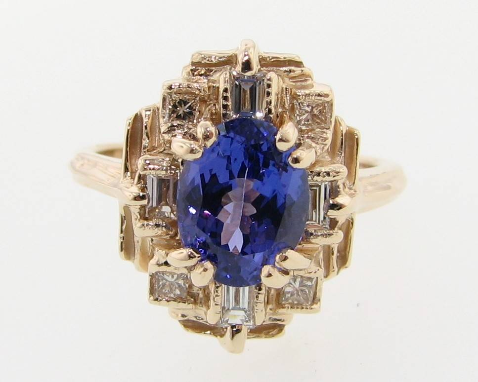 carat and diamond gold tanzanite white ring