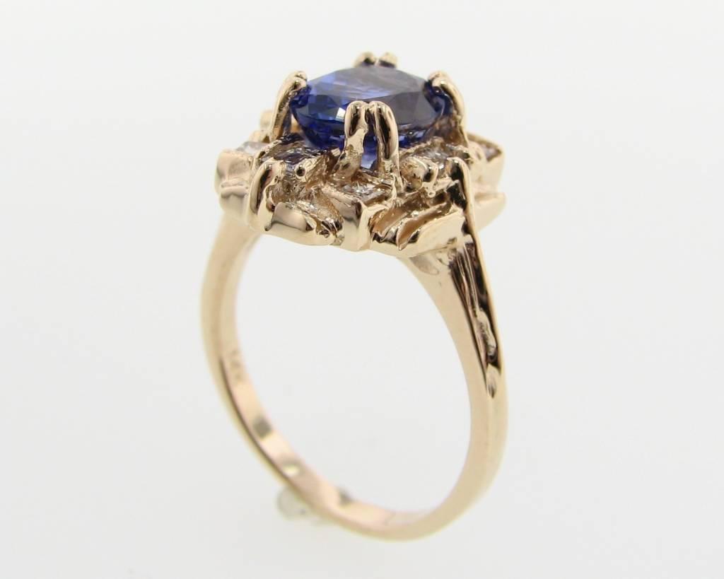 Vintage Tanzanite Diamond Yellow Gold Ring, Art Deco