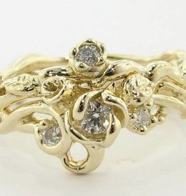 Signature Rose Yellow Gold Moissanite Wedding Ring Set, Rose Garden