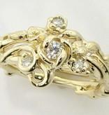 Signature Rose Yellow Gold Moissanite Wedding Ring Set, Rose Garden