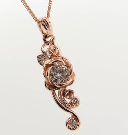 Signature Rose Rose Gold Moissanite, Rose Cascade Pendant