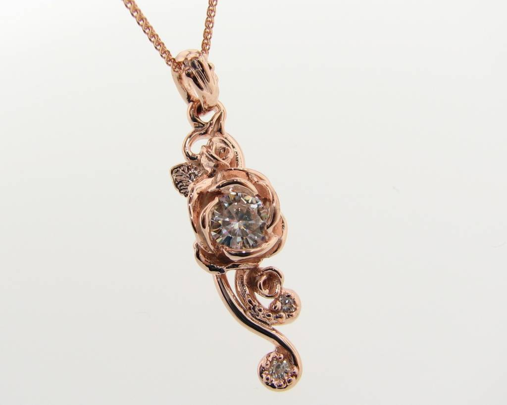 fine round pendant cable moissaniteco stone chain pendants with moissanite three com