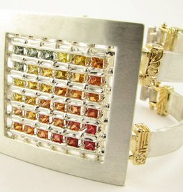Sleek Sapphire Silver 18K Yellow Gold Bracelet, Contraption