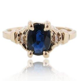 Vintage Sapphire Diamond Ring Yellow Gold, Art Deco