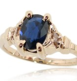 Vintage Sapphire Diamond Ring Yellow Gold, Art Deco