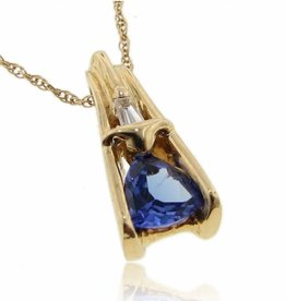 Sleek Yellow Gold Tanzanite Diamond Necklace, Trillion