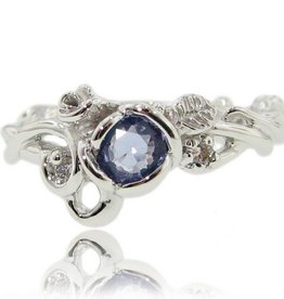 Signature Rose Tanzanite Diamond White Gold Ring, Rose Garden Full Bloom