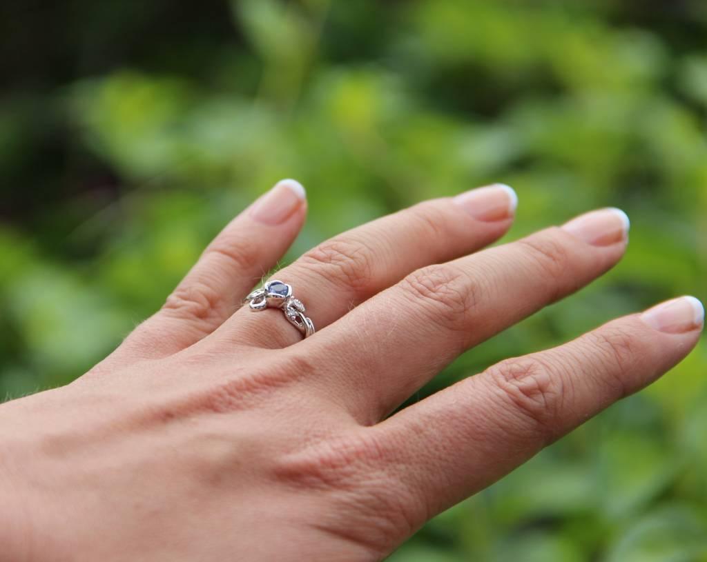 Signature Rose Rose Garden Ring, Full Bloom Tanzanite in White Gold