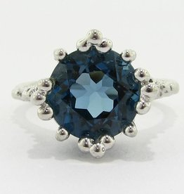 Organic London Blue Topaz Silver Ring, Princess