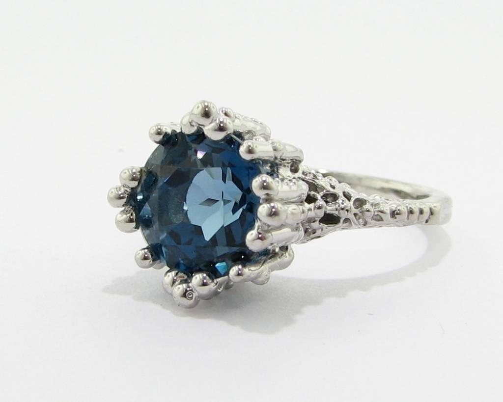 Organic London Blue Topaz Silver Ring, Princess