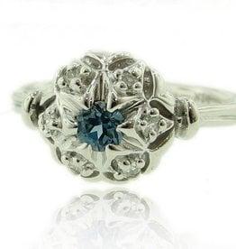 Vintage Diamond Blue Topaz White Gold Wedding Ring Set, Bisnonna