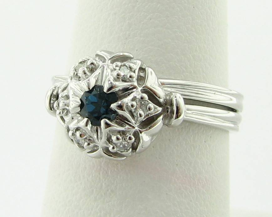 Vintage Diamond Blue Topaz White Gold Wedding Ring Set, Bisnonna