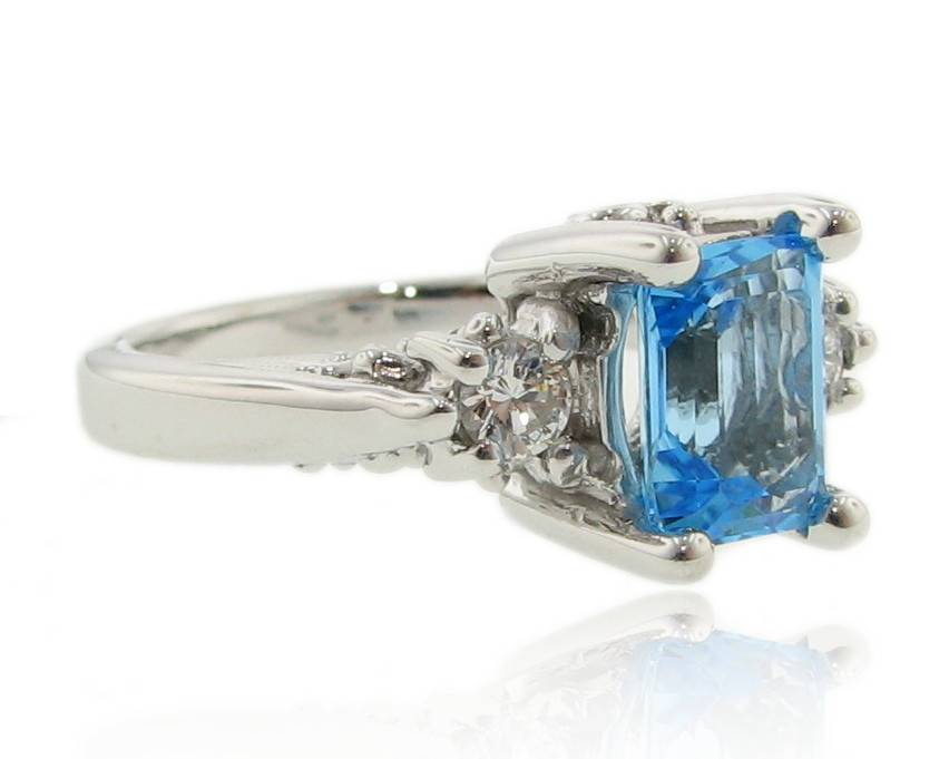 Vintage Blue Topaz Diamond Ring, Old Paris