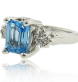 Vintage Blue Topaz Diamond Ring, Old Paris