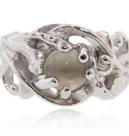 Undersea Silver Moonstone Ring, Undersea Swirl