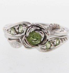 Signature Rose Peridot Silver Wedding Ring Set, Prize Tea Rose