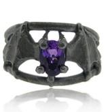 Organic Amethyst Black Silver, Bat Ring