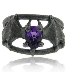 Organic Amethyst Black Silver, Bat Ring