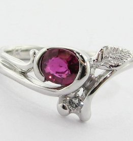 Organic Tourmaline Diamond White Gold Ring, Printemps Leaf Bud