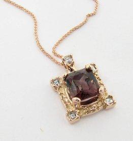 Vintage Tourmaline Rose Gold Pendant, Artisan