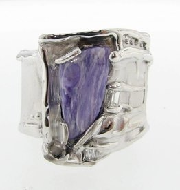 Organic Charoite Diamond Silver Ring, Silk
