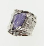 Organic Charoite Diamond Silver Ring, Silk