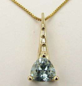 Sleek Yellow Gold Aquamarine Diamond Pendant, Prow