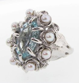 Organic Aquamarine Pearl Silver Ring, Grandma's Jewel Box
